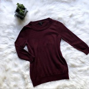 J Crew maroon crew neck sweater with 3/4 sleeves